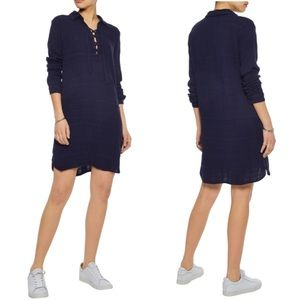 SPLENDID Navy Blue Lace Up Gauze Mini Dress Tunic